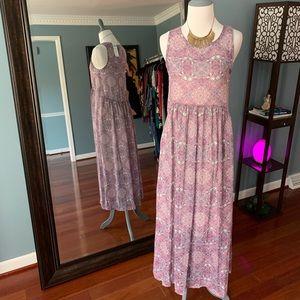 Godiva Maxi Dress - Blue & Pink